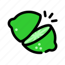 chop, cooking, food, fruit, lime, slice icon