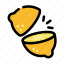 chop, cooking, food, fruit, limone, slice icon