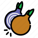 chop, cooking, food, onion, slice, vegetables icon