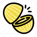 chop, cooking, food, fruit, melon, slice icon