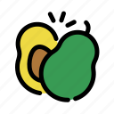 avocado, chop, cooking, food, fruit, slice icon