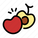 cherry, chop, cooking, food, fruit, slice icon