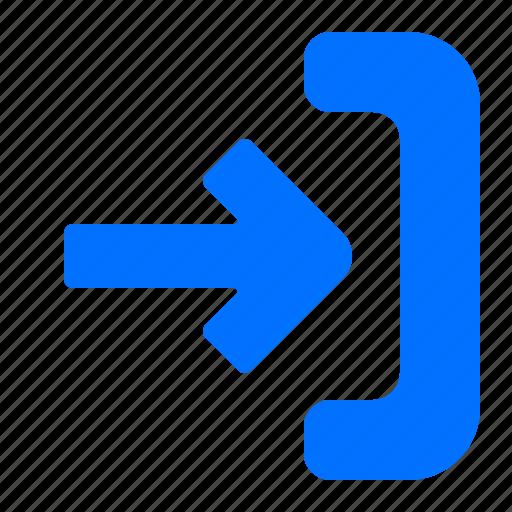 arrow, import, right icon