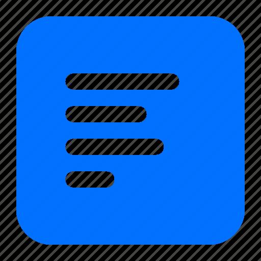 alignment, left, lines, text icon