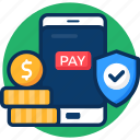 cehck, click, coin, money, online, online pay icon, pay, payment, per, secureity, shield, shopping icon icon