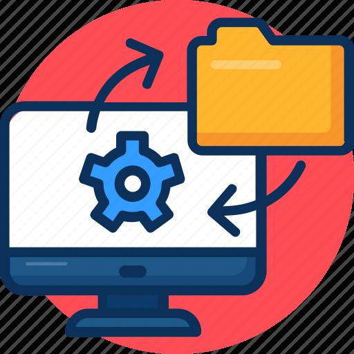 data converting, data exchange, data integration, data synchronization, data transformation icon, folder, gear, process, setting icon
