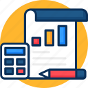 accounting, accounting icon, business, calculator, concept, line chart.pencil icon