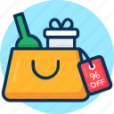 box, concept, e-commerce, gift box, money, percent off, sale, shopping, shopping bag, sign, strategy, web icon, wine icon