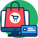 business, creadit card, e-commerce, marketing, money, online shopping, shopping bag, shopping icon icon