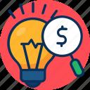 concept, creativity, find, find right idea icon, idea, magnifier, scan, search, solution icon