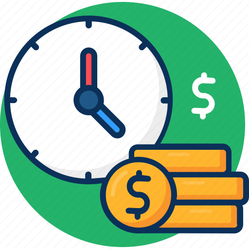 coin, concept, finance, money, payment, time, time is money icon icon