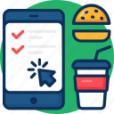 booking, concept, delivery, fast food, make order icon, menu, mobile, online, order icon