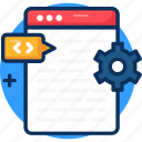 application, clear, cocept, development, development icon, programming, source, source code icon