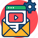 business, concept, e-mail marketing, email, envelope, gear, marketing, video icon icon