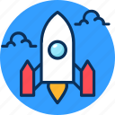 application, concept, launch, project, ready to go icon, rocket, test, website icon