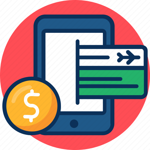 get ticket icon, mobile, money, reservation, smart phone icon