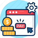 click, gear, online shopping, pay, payment, per icon, setting icon