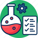 check list, chemical bonding, lab experiment, learning science, research concept, science technology icon icon