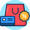 atm, card, credit card, label, percent, special offer, sticker, tag icon icon