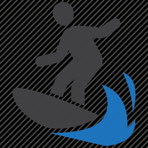 surfboard, surfer, surfing icon