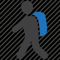 backpack, journey, travel, walking icon
