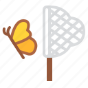 butterflies, catching, holiday, nature, play icon