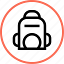 back, outdoors, pack, travel, vacation icon
