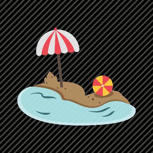 beach, beach ball, sand castle, sea, umbrella icon