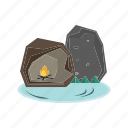 adventure, bonfire, cave, rocks, shelter icon