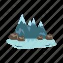 scenery, mountains, summit, lake, winter