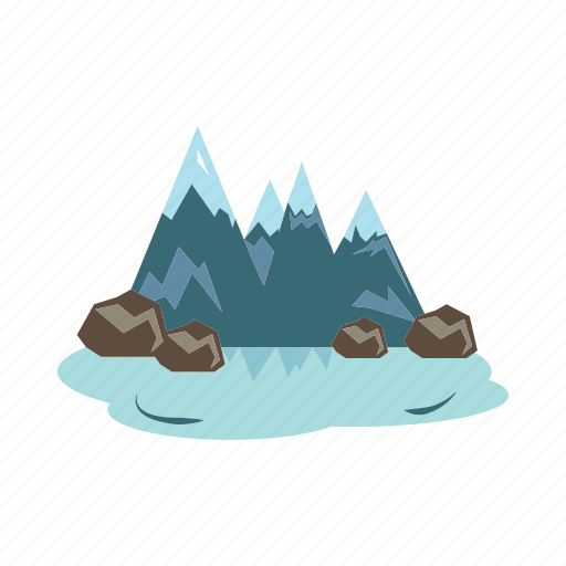 lake, mountains, scenery, summit, winter icon