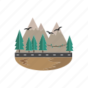 pines, mountain, summits, landscape, road
