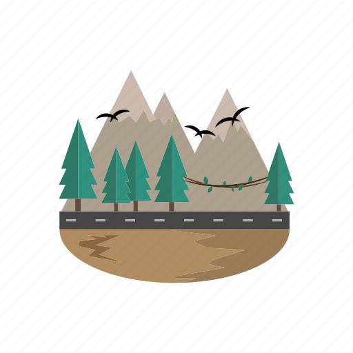 landscape, mountain, pines, road, summits icon