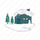 resident, snow cabin, chimney, winter, snowman