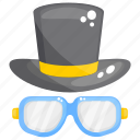 beach accessories, glasses and hat, headgear, headwear, travel accessories icon
