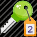 access, door key, gateway key, lock key, room key icon