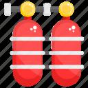oxygen bottles, oxygen cylinder, oxygen tank, pony bottle, scuba cylinder
