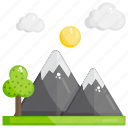 hill station, hills, hilly area, mountains snowy mountains icon