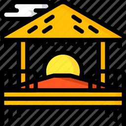beach, holiday, hut, sunset, travel, vacation, vacations icon