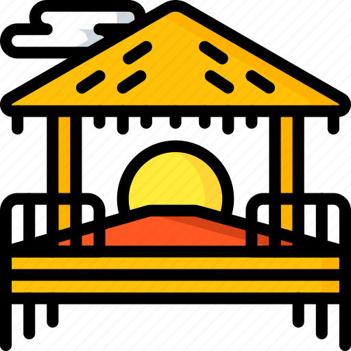 beach, holiday, hut, sunset, travel, vacation, vacations icon