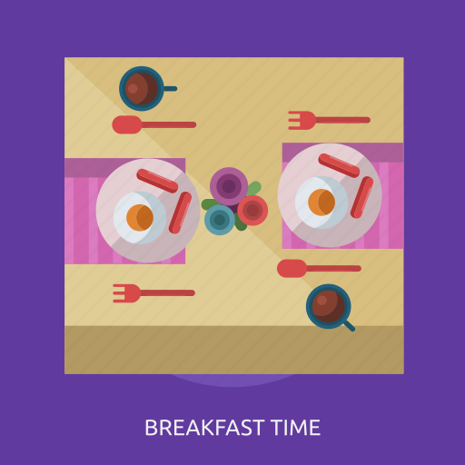 breakfast time, drink, food, plate, spoon icon