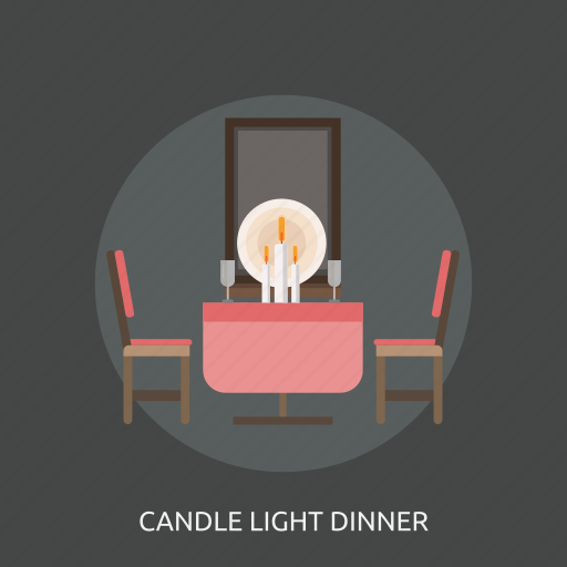 candle light, chair, dinner, glass, table icon