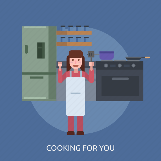 cheef, cooking, female, frying pan, refrigerator, stove icon