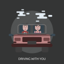 car, cloud, driving with you, female, man icon