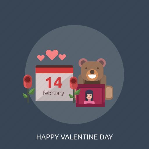 bear, doll, february, flower, happy valentine day, love icon
