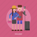 camera, female, holiday, male, suitcase icon
