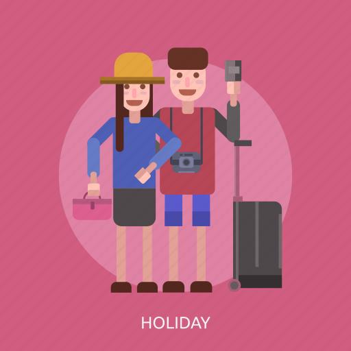 camera, female, holiday, male, suitcase icon