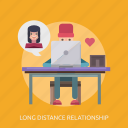 chat, laptop, long distance relationship, love, man icon