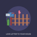 bird, fence, love letter, mail box icon