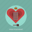 door, key, love, open your heart icon